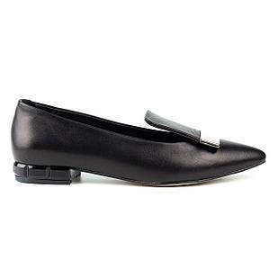Туфли кожаные женские 35-40 Woman's heel черные декорированные металлической пряжкой