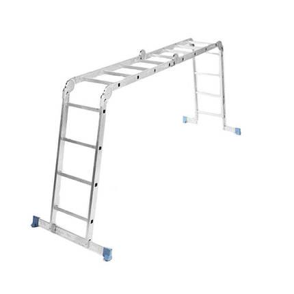 Лестница трансформер (алюминиевая) 4х4 ступ., 4,75 м, фото 2