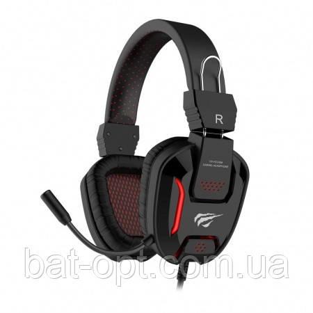 Наушники игровые Havit HV-H2168D с микрофоном, с подсветкой, красные