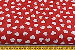 Ткань бязь с разносторонними сердцами на красном фоне, № 942, фото 2