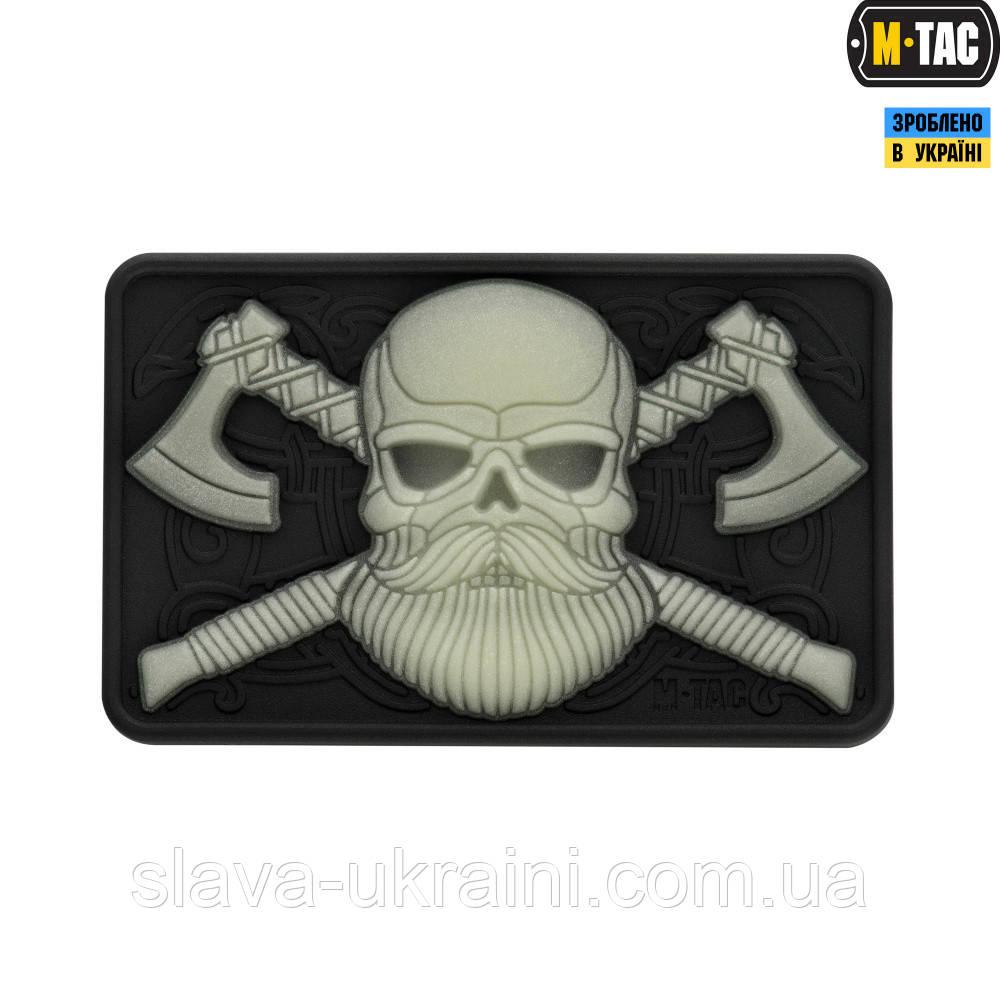 Нашивка M-Tac Bearded Skull 3D ПВХ Black/Светонакопитель