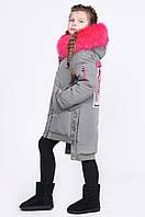 Модная Детская зимняя куртка для девочек X-Woyz Цвет фисташка размеры 122-164