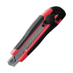 Нож прорезной с отломным лезвием INTERTOOL HT-0503 (18 мм) обрезиненная рукоятка