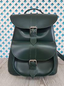 """Рюкзак жіночий """"ВОЯЖ"""" натуральна шкіра, темно-зелений"""