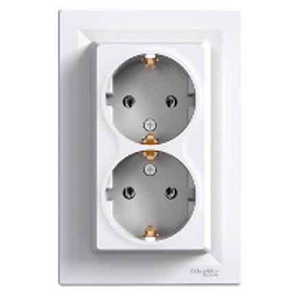 """Розетка подвійна з заземленням """"Schneider Electric"""" Asfora (біла) EPH9900121, фото 2"""