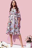 Модное женское платье цветочное! Цвет: голубой, арт 263