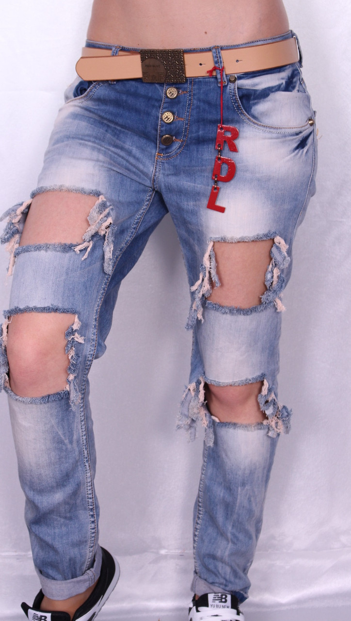 Женские джинсы с рванкой БОЙФРЕНДЫ .Турция.размеры 25-30.