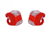 Мигалка 2шт FT205D белый+красный свет 3w LED, силиконовый (красный корпус)