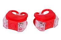 Мигалка 2шт BC-RL8002 белый+красный свет LED силиконовый (красный корпус)