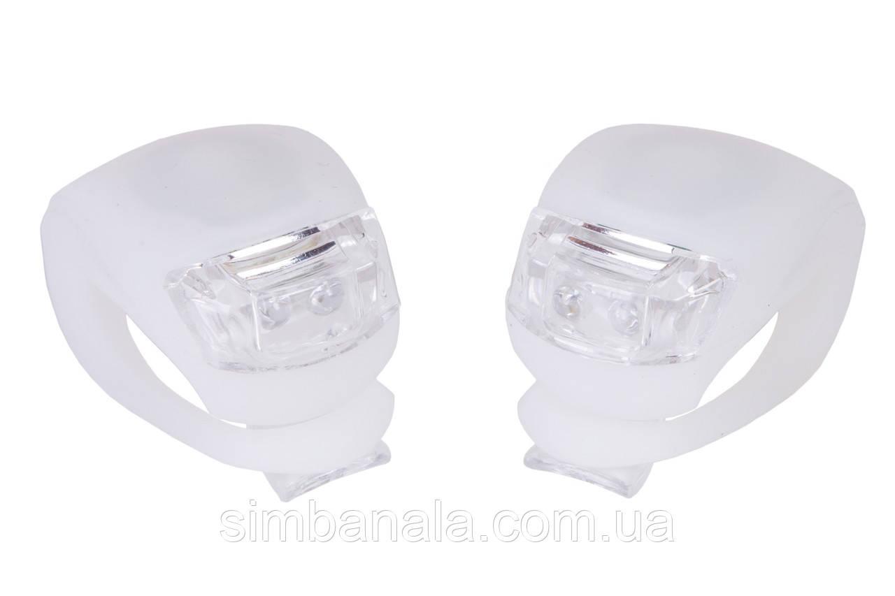 Мигалка 2шт BC-RL8001 белый+красный свет LED силиконовый (белый корпус)
