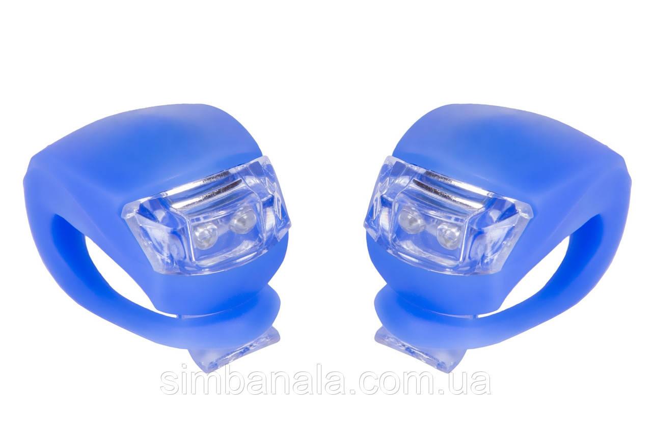 Мигалка 2шт BC-RL8001 белый+красный свет LED силиконовый (синий корпус)