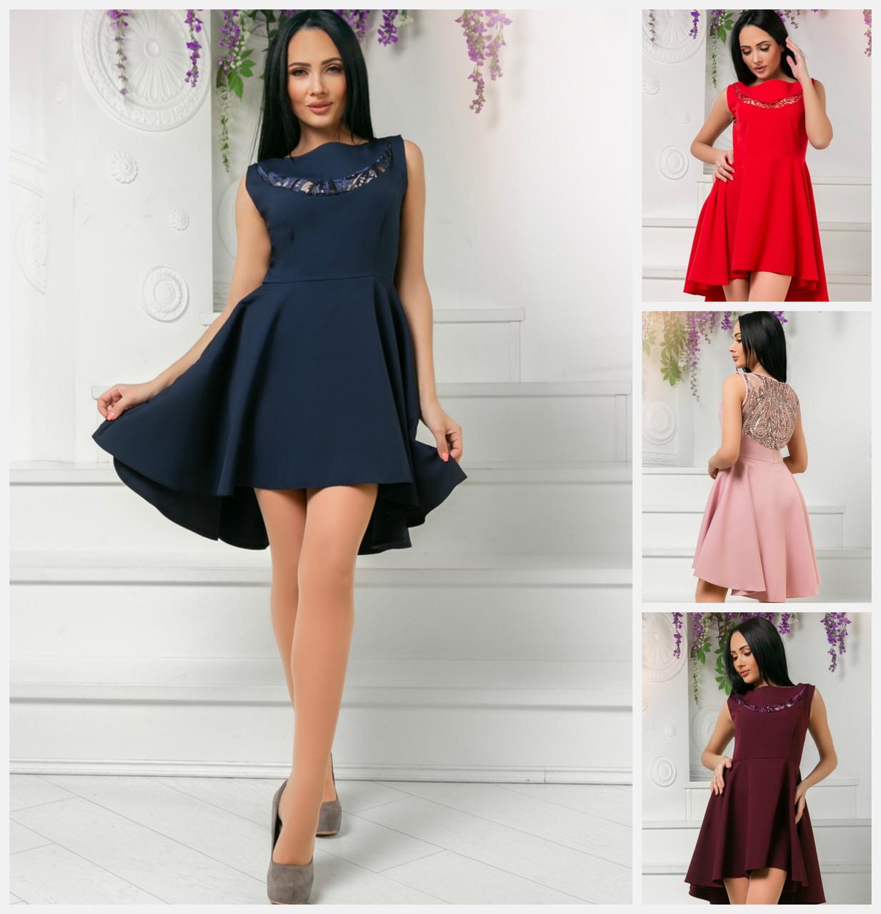 d827d91982f Платье удлиненное сзади с кружевом 18895  продажа