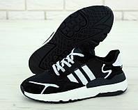 """Кроссовки мужские Adidas Nite Jogger """"Черные с белым"""" р. 41-45, фото 1"""