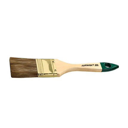 Кисть малярная плоская 3 нат. и искуств. щетина, деревянная ручка, фото 2
