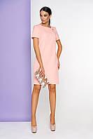 Стильное платье миди полуоблегающее с коротким рукавом сзади разрез персиковое