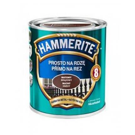 Эмаль HAMMERITE темно-коричневая полуматовая 3 в 1 (2,5 кг), фото 2