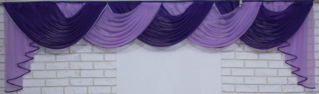 Ламбрекен на карниз 3,5м. №133 Фиолетовый с сиреневым