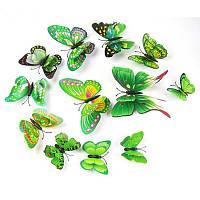 4D бабочки для декора с магнитом и двусторонним скотчем Зеленые, фото 1