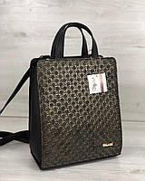 Женский каркасный сумка-рюкзак черного цвета со вставкой золото