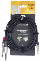 Інсертний кабель (1mini-jack-2jack) STAGG NYC3/MPS2PR (3m)