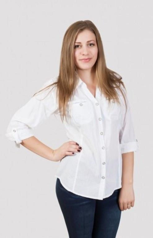Строгая деловая блуза на пуговицах из натуральной ткани
