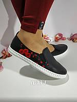 Женские черные слипоны с вышивкой, ОВ 1043-1