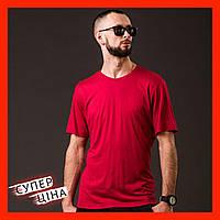 Футболка з V-подібним вирізом червона.  Чоловіча базова футболка. Однотонна футболка.