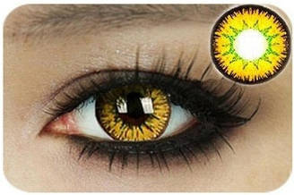 Лінзи контактні жовто-зелені (підходить для темних лаз) + контейнер в ПОДАРУНОК