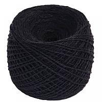 Нитки для вязания 100% верблюжья шерсть 100г черного цвета