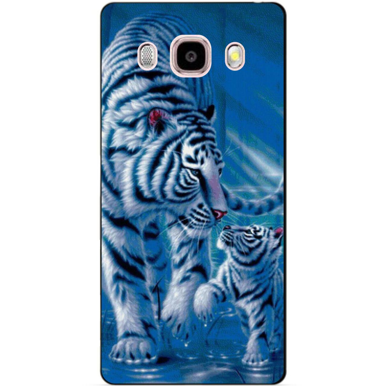 Силиконовый чехол бампер для Samsung Galaxy J510 J5-2016 с рисунком Тигры