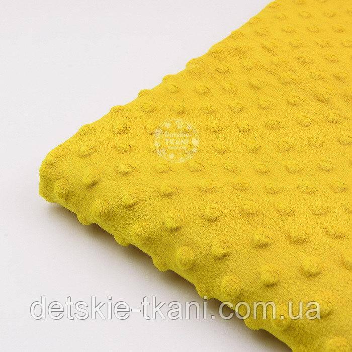 Лоскут   плюша minky горчичного цвета М-11139, размер 15*160 см