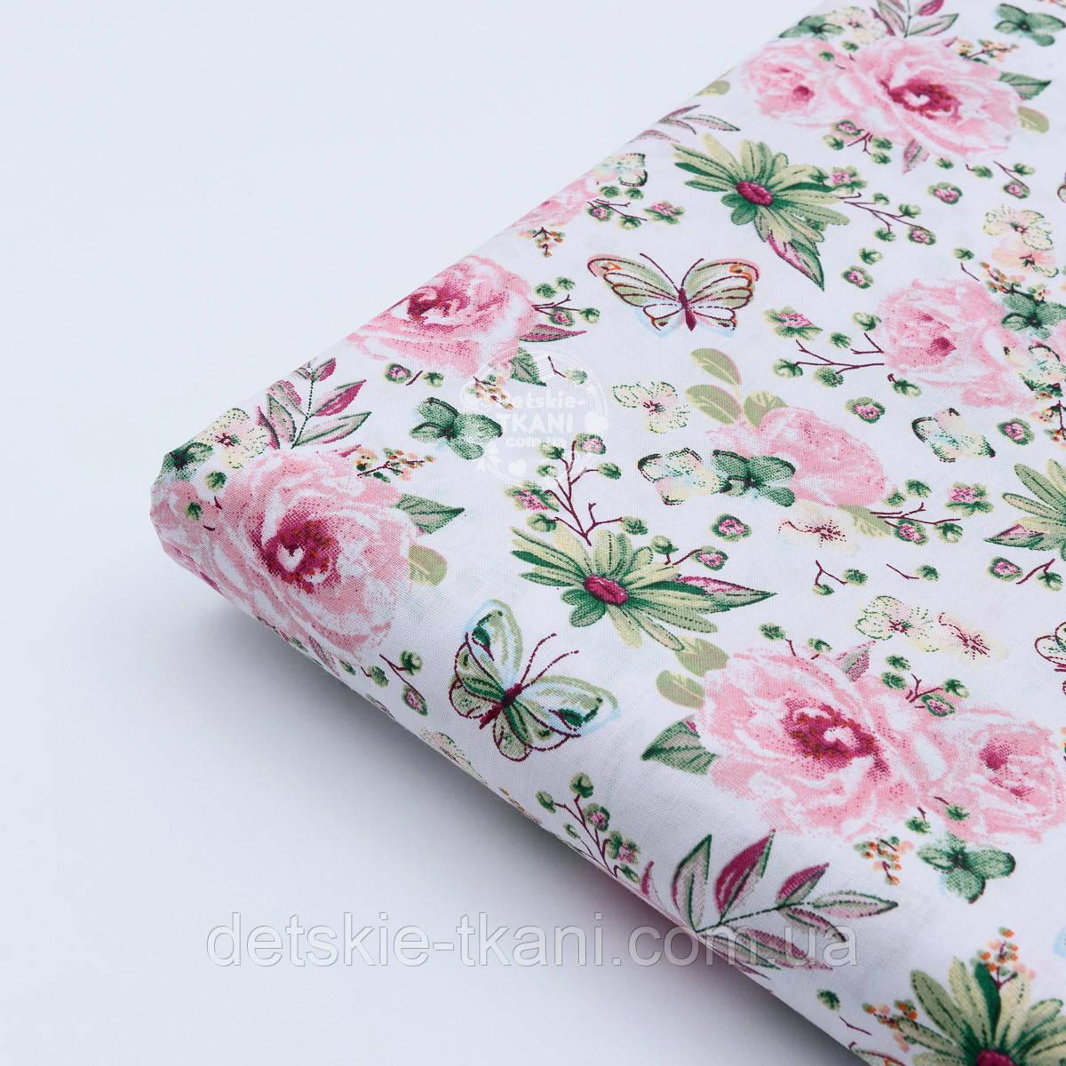 """Лоскут ткани """"Бабочки на розовой цветочной поляне"""" на белом №1820а"""