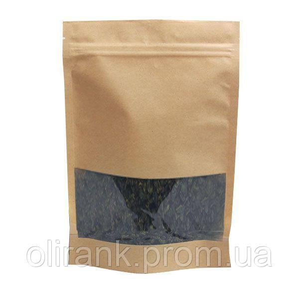 Дой-пак из крафт-бумаги 130×200(+40) с окном 8,5 см с замком ZIP-LOCK, (100шт/уп)