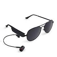◯Беспроводная блютуз гарнитура очки Gelete A8 Black для телефона музыки 110 mAh с наушниками Bluetooth 4.1