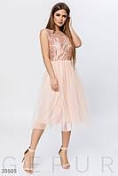 Вечернее платье миди с фатиновой юбкой персикого цвета