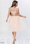 Вечернее платье миди с фатиновой юбкой персикого цвета, фото 3