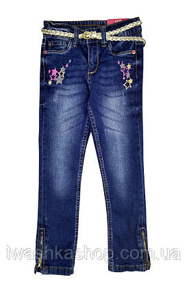 Стильні джинси slim fit з поясом на дівчинку 4 - 5 років, р. 110, Kiki&ko ko / KIK