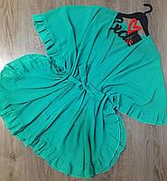 Зеленая шифоновая  туника с рюшами, пляжные туники.