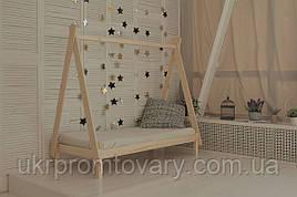 Дитяче ліжко будиночок Вігвам 700 Х 1600 мм, натуральне дерево, якісна