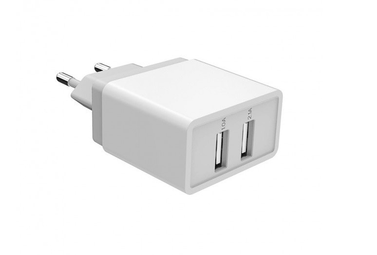 Зарядное устройство Golf GF-U2 SET 2xUSB + micro USB кабель Белый