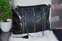 Женская кожаная сумка на трех молниях. Черная.