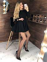 Платье с высокой талией, с открытой спинкой на завязках и юбкой клёш,трикотаж.  Размер:С,М. Цвет:черный (6376)