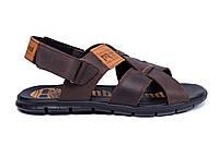 Мужские кожаные сандалии в стиле Timberland brown коричневые, фото 1