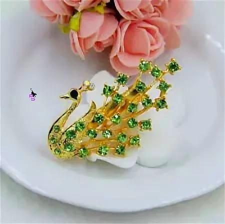 """Яркая зеленая металлическая брошь брошка значок с камнями стразами """"Птица"""" 14141"""