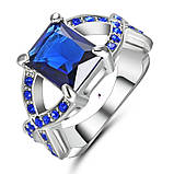 Розкішне кільце перстень з синім каменем, фото 2