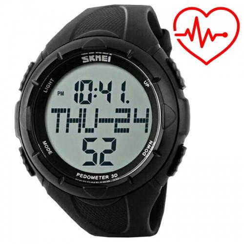 Часы наручные фитнес-трекер Skmei 1122, черные, в металлическом боксе
