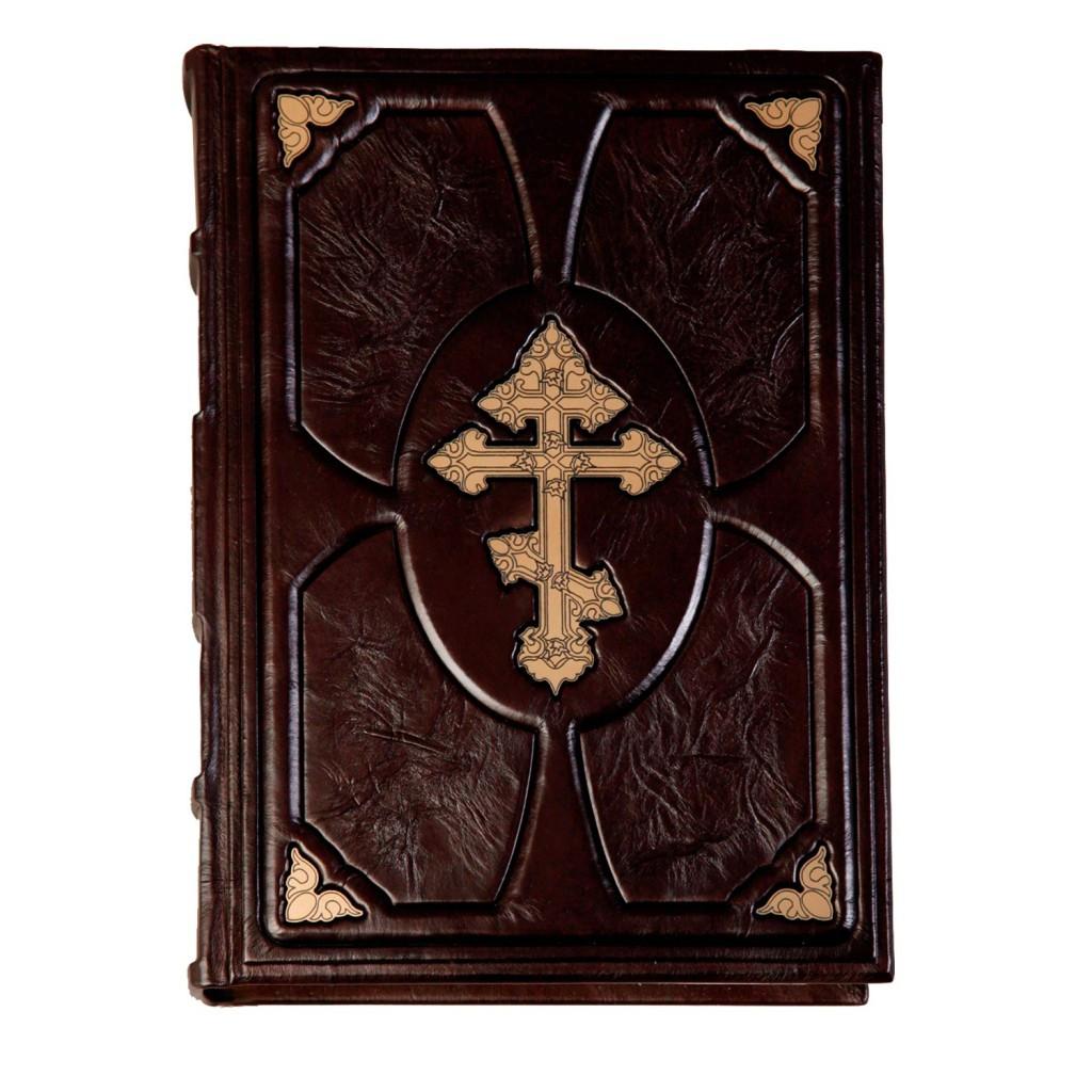 """Біблія православна в Синодальному перекладі в шкіряній палітурці """"Хрест повитий лозою"""" (М1)"""
