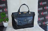 Красивая женская черная сумка с карманом, фото 1