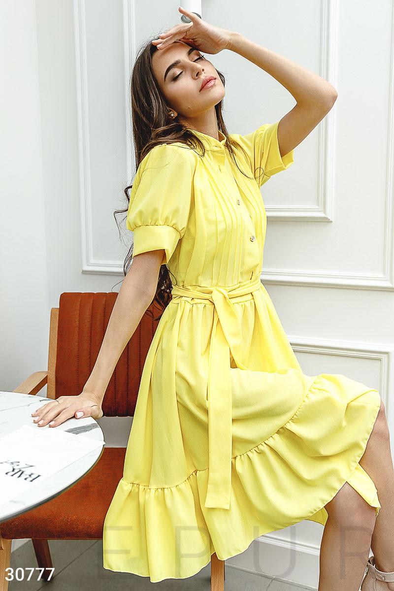 20173786e85 Шифоновое платье-рубашка с коротким рукавом желтое - LeButon в Одессе