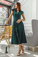 Женское платье миди с v-образным вырезом изумрудное